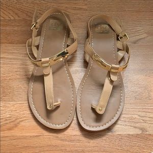 DV Nude Sandals with Gold Accent